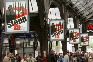 Posters urging people to vote Yes to the proposed ban of minarets in the referendum in 2009