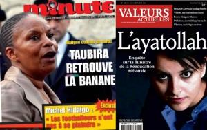 Magazine covers targeting Christiane Taubira (with the headline 'Taubira gets her banana back', left) and Najat Vallaud-Belkacem (right)