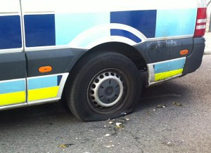 A UKBA van targeted in Walworth