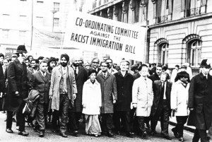 Demonstration against the 1962 Immigration Bill, with Vishnu Sharma (fifth from left) and Ernie Roberts, MP (sixth from left)