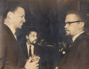 Jan Carew and Malcolm X at the launch of 'Magnet'