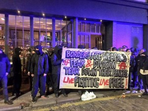 No Borders protesters at Shoreditch House
