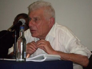 John Berger with A. Sivanandan at Against the Great Defeat of the World event 4 October 2007 to celebrate thirty-five years of Race & Class