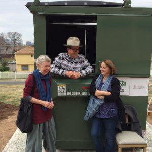 Barbara Harlow (left) with Dr Jeff Wilson and Liz Fekete at Huston-Tillotson University, East Austin