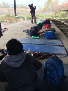 members of a camp at Serbian border
