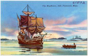The Mayflower (By Pub. by Smith's Inc., Plymouth, Mass. Tichnor Bros. Inc., Boston, Mass. [Public domain], via Wikimedia Commons)