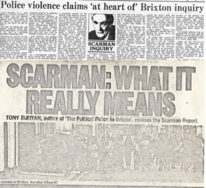 Headlines reviewing Scarman report from The Guardian and City Limits 1981