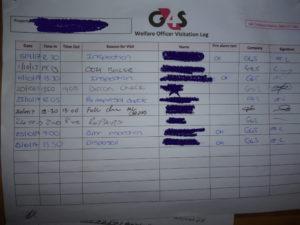 G4S inspection log © J. Grayson