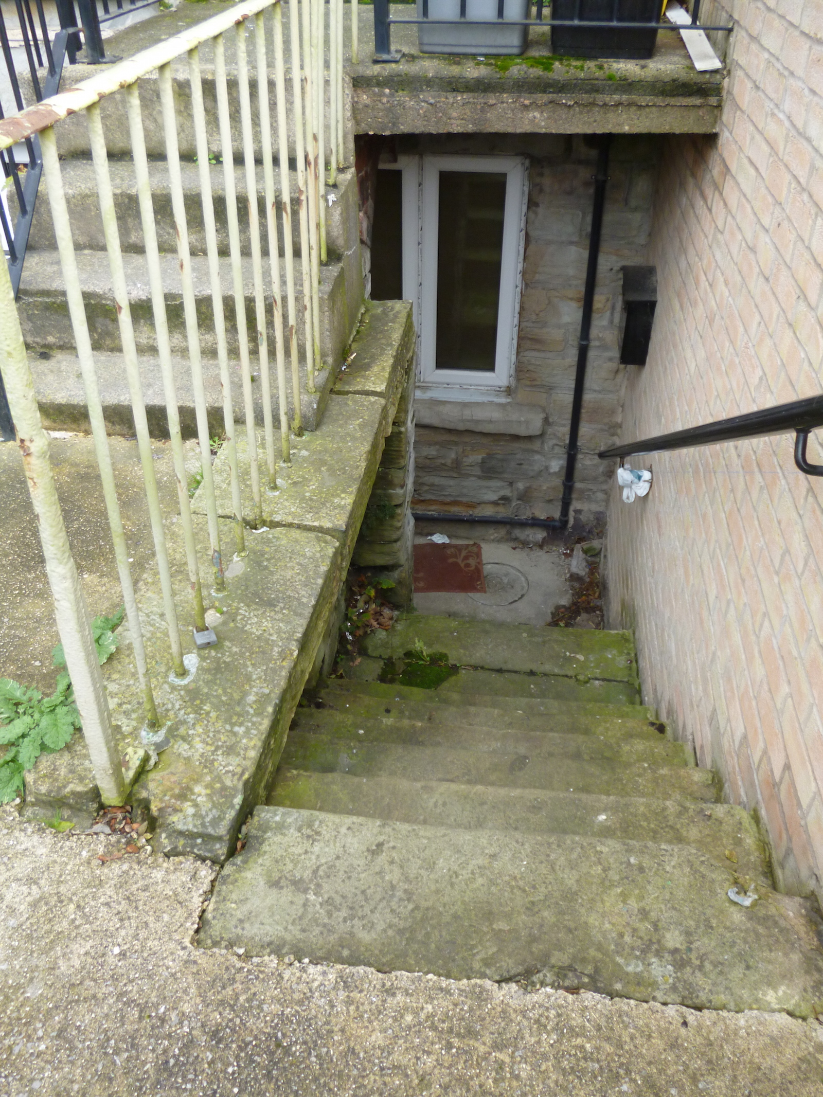 Stairs down to the basement flat © J. Grayson