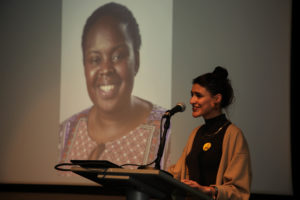Nadia speaking at event