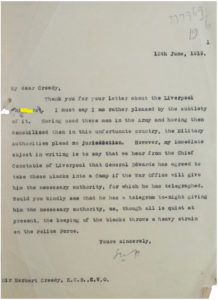 Letter from the Great War to Race Riots archive