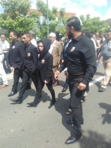 At the funeral of Mawda, a two-year-old Kurdish Iraqi girl, who died after being shot near Mons, Belgium