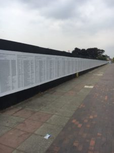 An image of The United List of refugee and migrant deaths in Europe installed at Great George Street, Liverpool