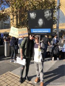 Portestors at St Pancras in solidarity with Sean, Sarah and Nassoss