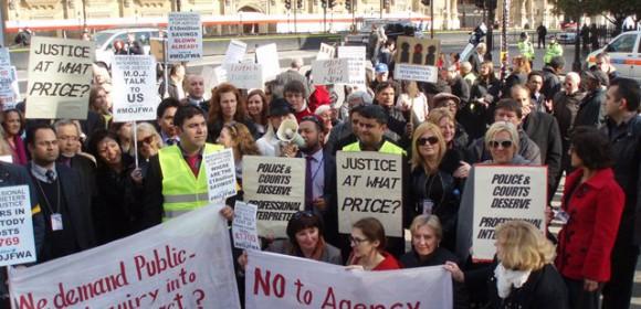 Interpreters protest outside the Houses of Parliament, April 2012 (Aisha Maniar)