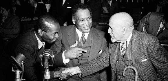 Peter Blackman meets Paul Robeson and W. E. B. Dubois at the 1949 World Peace Conference
