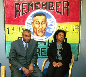 NEVILLE AND DOREEN LAWRENCE PICTURED AT PRESS  CONFERENCE SHORTL
