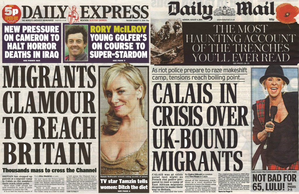 Daily Express and Daily Mail Calais migrants