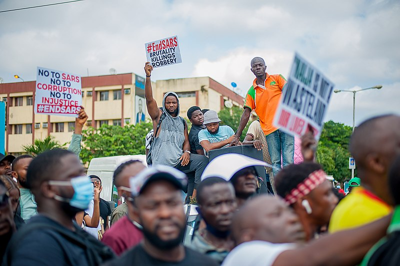 Protesters at endSARS protests in Lagos, Nigeria