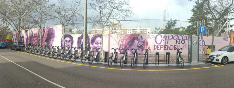 Panorama of the Madrid feminist mural