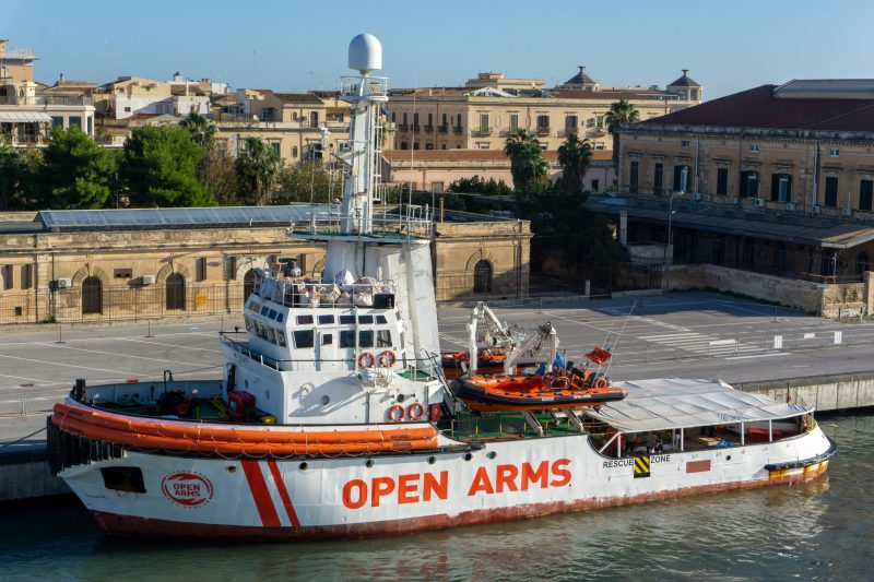 The Open Arms migrant search and rescue ship docked in Syracuse harbour, Sicily.