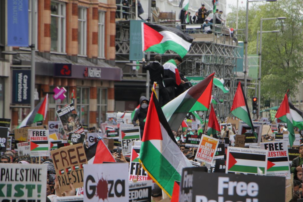 A large crowd at a pro-Palestine march in London on 15 May 2021.