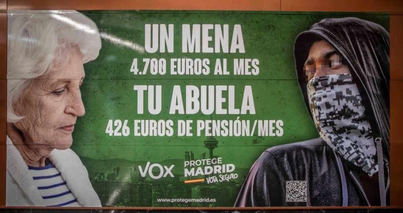 """One of the Vox party's """"mena"""" election billboards in Madrid."""