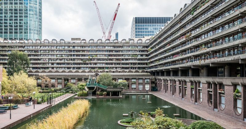The outside of the Barbican Centre, City of London.