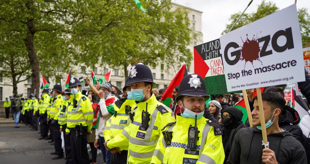 A line of police at a pro-Palestine march in London, 22 May 2021.