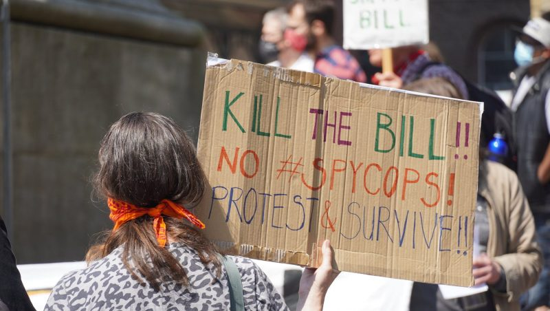"""A banner at a recent Kill the Bill protest in Newcastle, reading """"Kill the Bill, No Spycops, Protest and Survive"""""""
