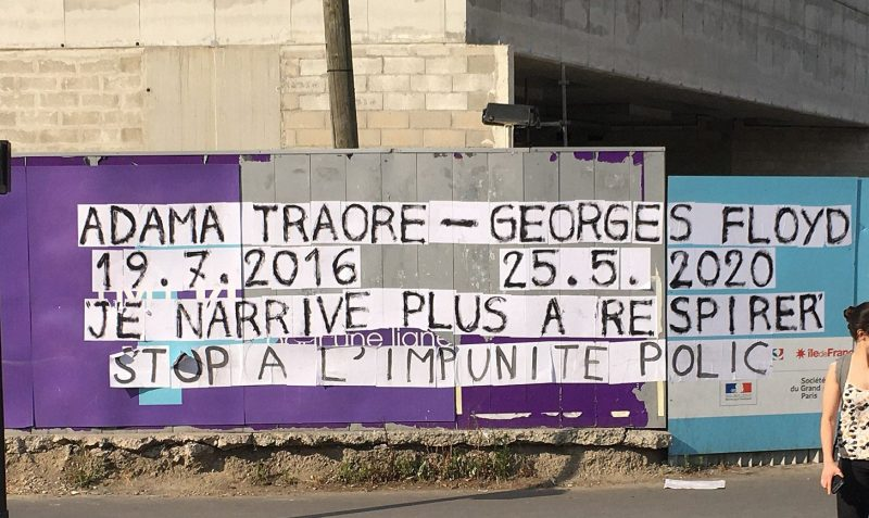 Black Lives Matter graffiti in Paris, with the names of Adama Traoré and George Floyd.