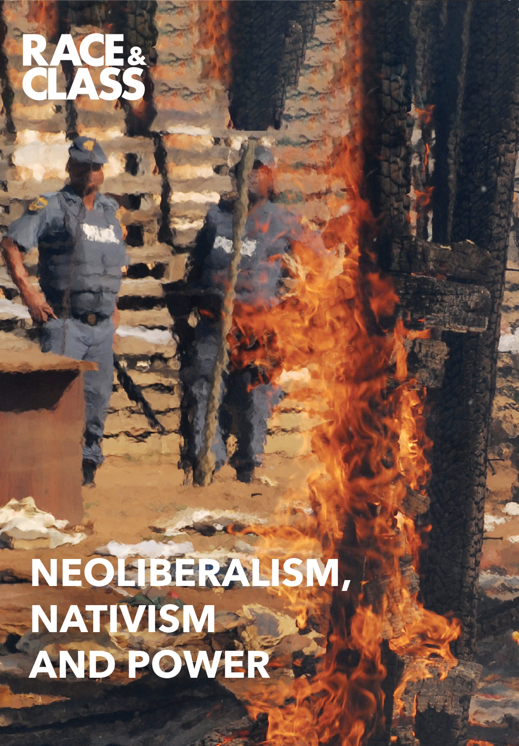 A photo of a fire in Gauteng, South Africa, where residents set foreigners' shacks on fire in a xenophobic attack in 2008.