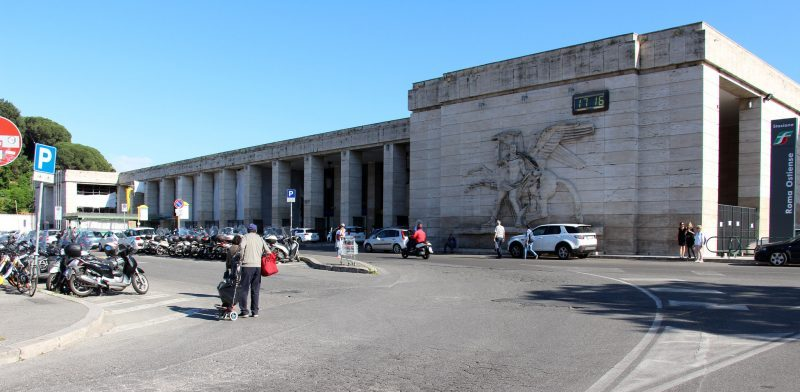 A picture of The Square of the Partisans outside the Ostiense station in Rome.